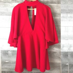 madissone Dresses - Madissone red cape dress cutout back